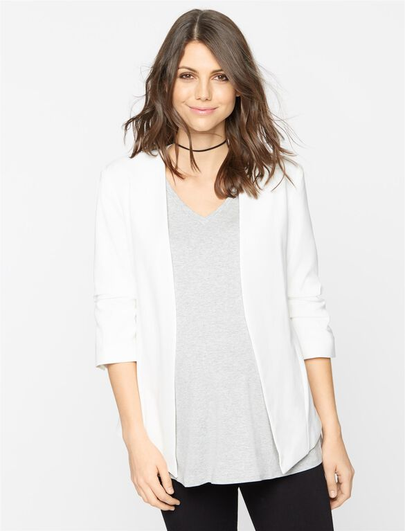 Willow & Clay Open Front Crepe Maternity Blazer, White