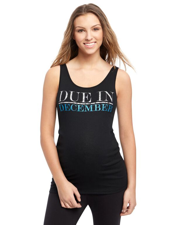 Due in December Maternity Graphic Tank Top, Topaz Glitter