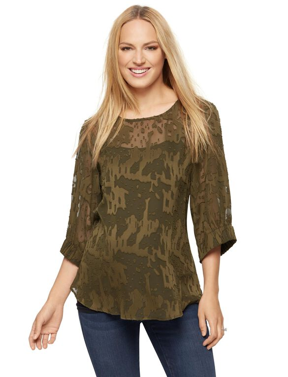 Shirring Detail Maternity Blouse, Olive