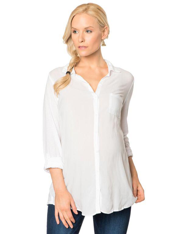 Splendid Convertible Sleeve Maternity Shirt- White, White