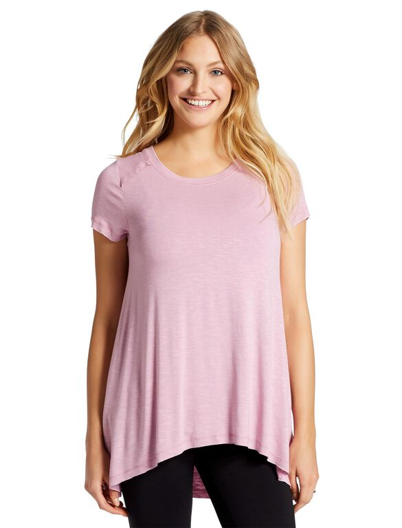 Jessica Simpson Pull Over Side Slit Nursing Top, Plum Frost