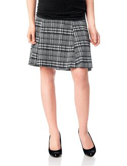 Secret Fit Belly Fit And Flare Maternity Skirt, Black/White Plaid