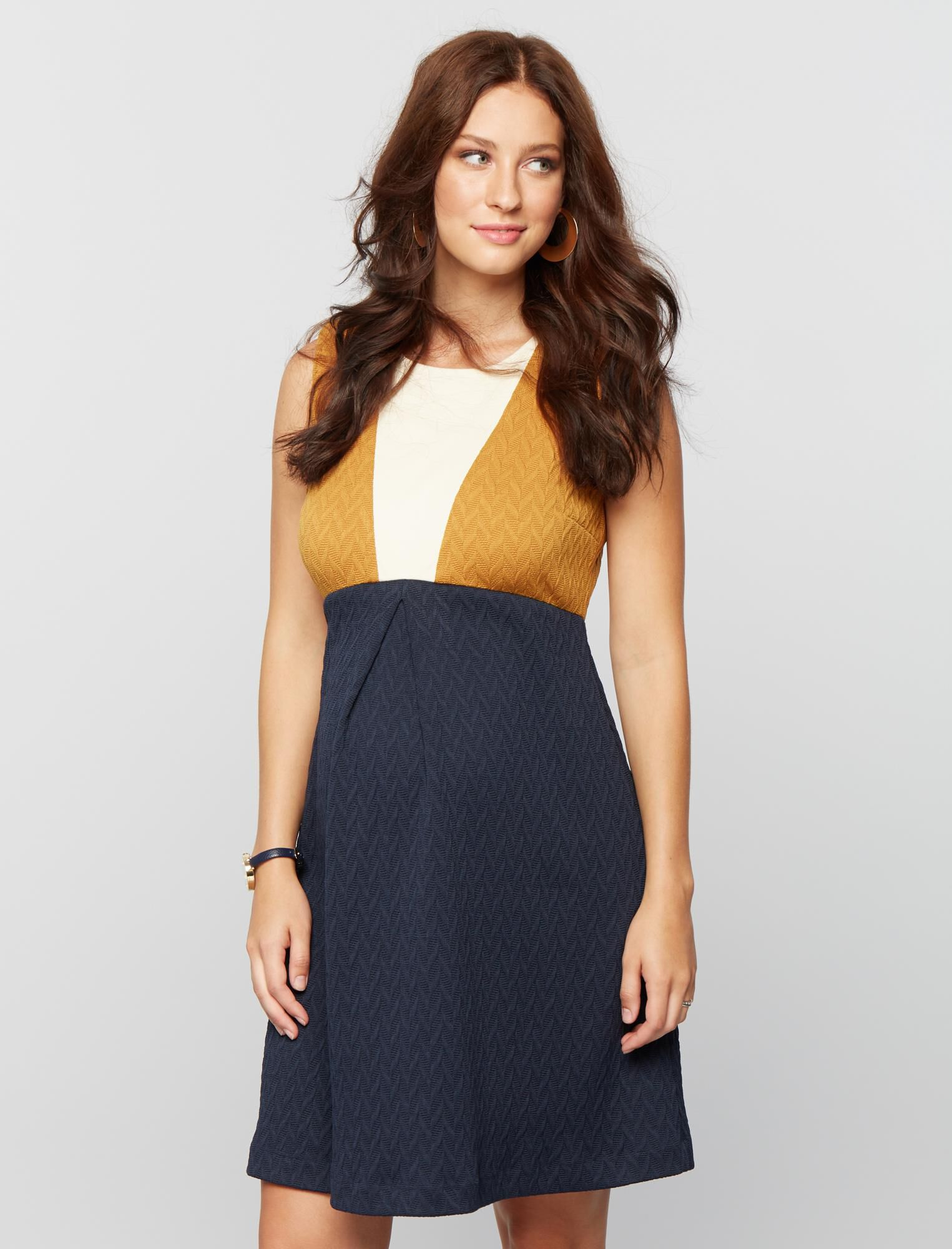 Vintage Maternity Clothes History Colorblock Fit and Flare Maternity Dress $99.99 AT vintagedancer.com
