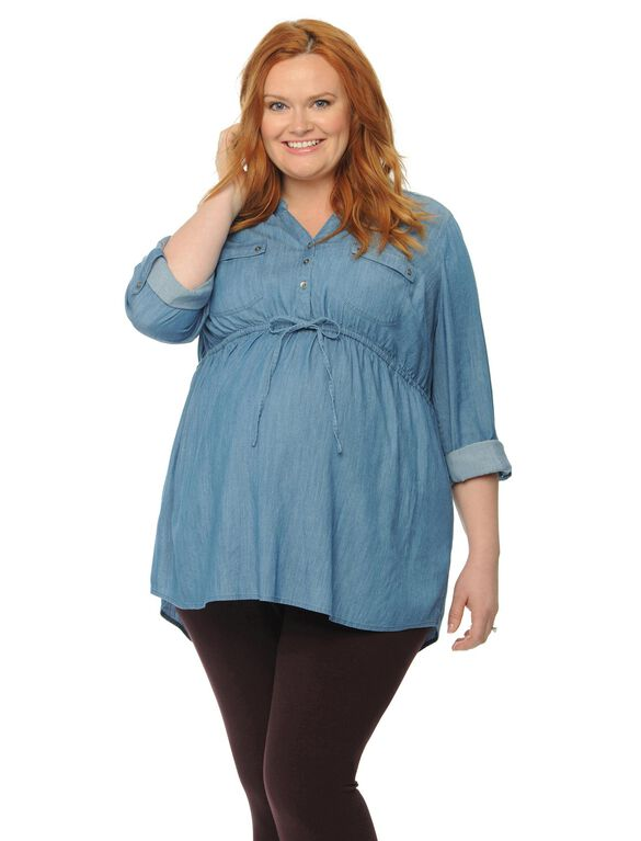 Plus Size Tie Front Maternity Top, Chambray