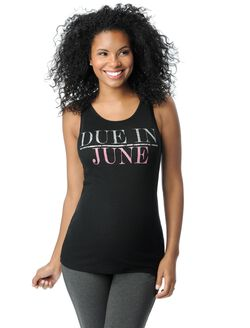 Due in June Maternity Graphic Tank Top, Pearl Glitter