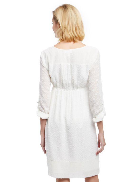 Textured Tassel Detail Maternity Dress, White