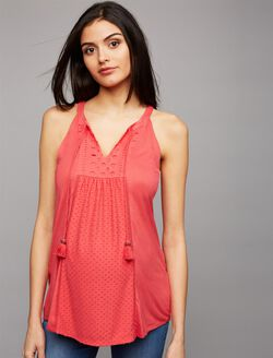 Daniel Rainn Eyelet Trim Maternity Tank Top, Carnation