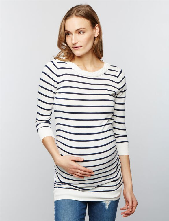 Boat Neck Maternity Sweater, Soft White