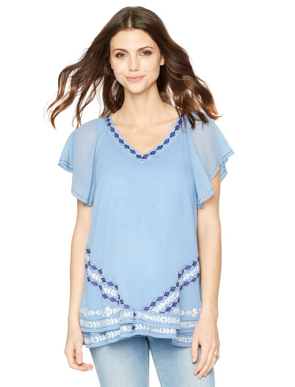 Flutter Sleeve Embroidered Maternity Blouse, Blue