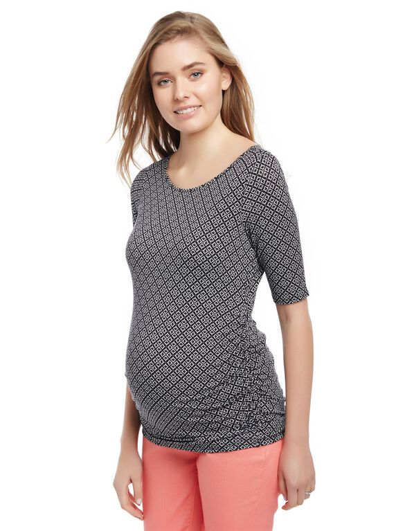 Keyhole Side Ruched Maternity Tee, Black Geo Print
