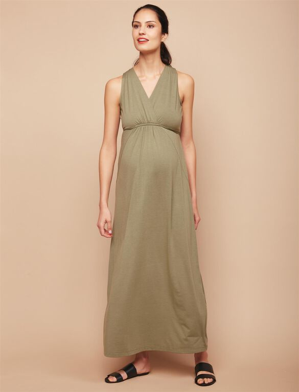 Surplice Neckline Maternity Maxi Dress- Green, Lichen Green