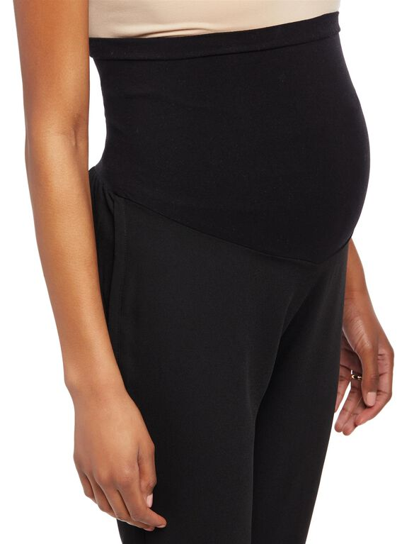Secret Fit Belly Bi-stretch Suiting Straight Leg Maternity Pants, Black
