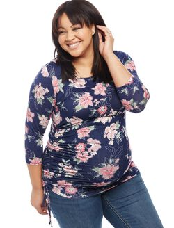 Plus Size Jessica Simpson Side Tie Maternity Tee- Floral Print, Floral Print