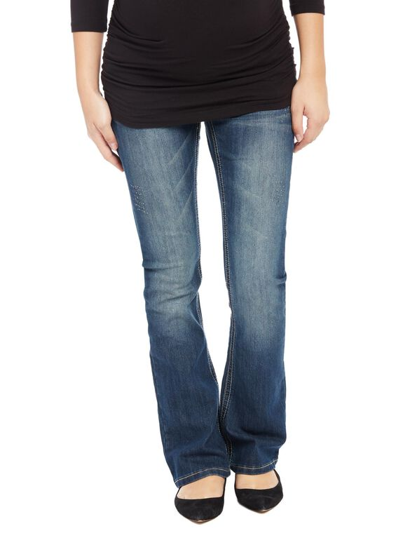 Secret Fit Belly Stitched Pocket Boot Cut Maternity Jeans, Dark Wash