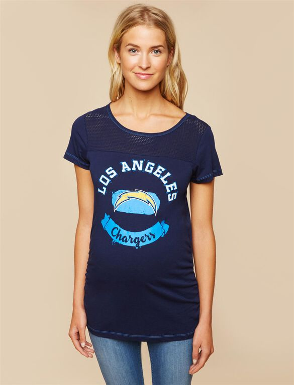 San Diego Chargers NFL Mesh Detail Maternity Tee, Chargers