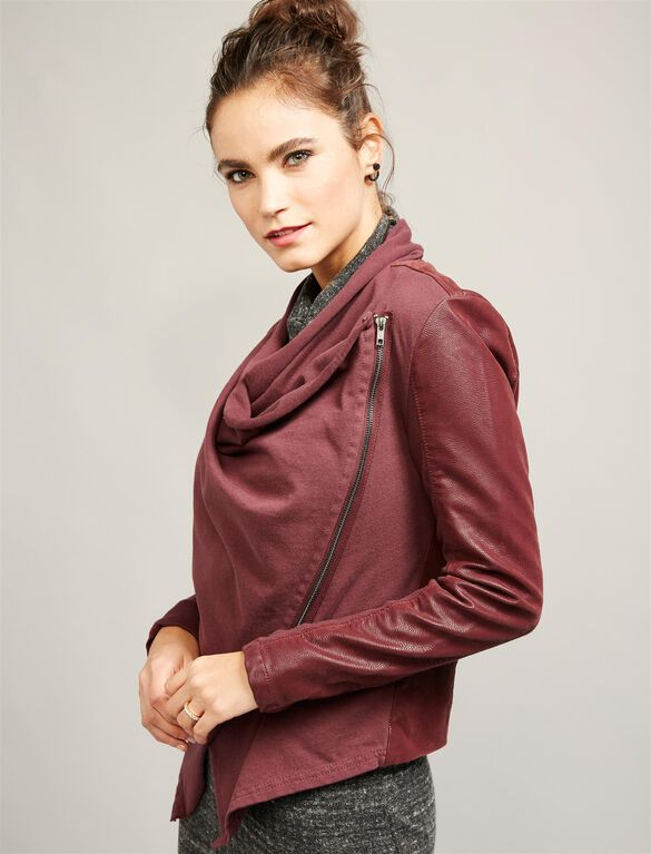 Blank NYC Drape Neck Faux Suede Maternity Jacket, Wine