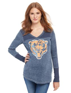 Chicago Bears NFL Long Sleeve Maternity Graphic Tee, Bears Blue