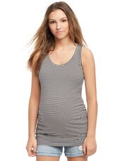 Side Ruched Scoop Neck Maternity Tank Top- Stripe, White Black Stripe