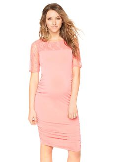 Lace Elbow Sleeve Maternity Dress, Coral