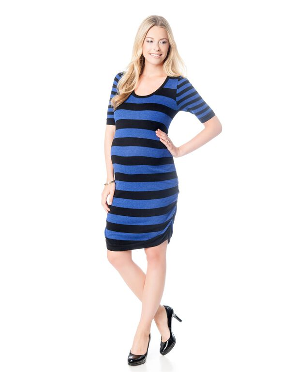 Ruched Maternity Sweater Dress, Color Stripe