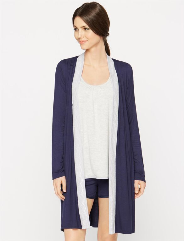 Lace Trim Nursing Robe- Navy, Navy