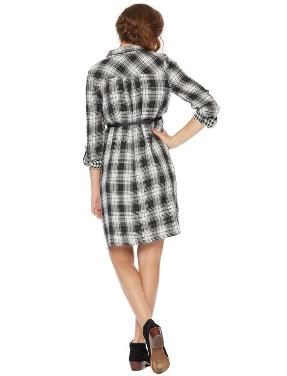 Classic Plaid Belted Maternity Shirt Dress, Black/White
