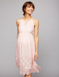 Luxe Essentials Eyelet Halter Maternity Dress, Blush