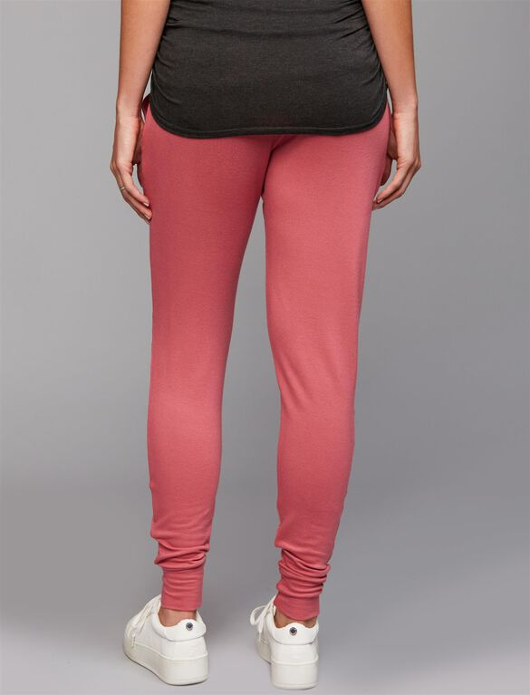 Under Belly French Terry Maternity Jogger Pants- Mauvewood, Mauvewood