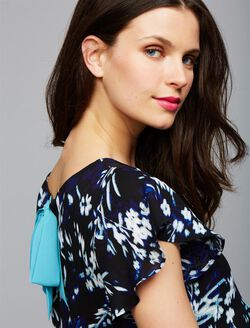 Floral Bow Detail Maternity Blouse, Black/White Floral