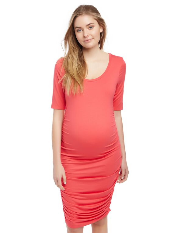 Side Ruched Maternity Dress, Teaberry
