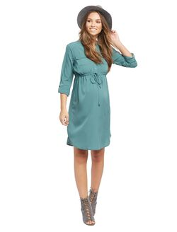 Tie Detail Maternity Shirt Dress, Sea Pine
