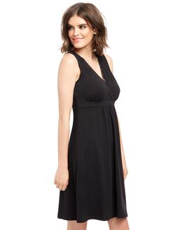 Bump In The Night Relaxed Fit Nursing Nightgown, Black
