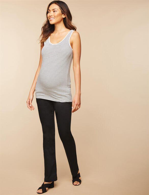Secret Fit Belly Twill Boot Cut Maternity Pants, Black
