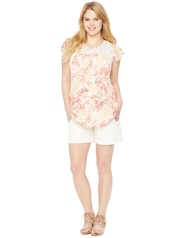 Secret Fit Belly Lace Maternity Shorts, Cream Lace