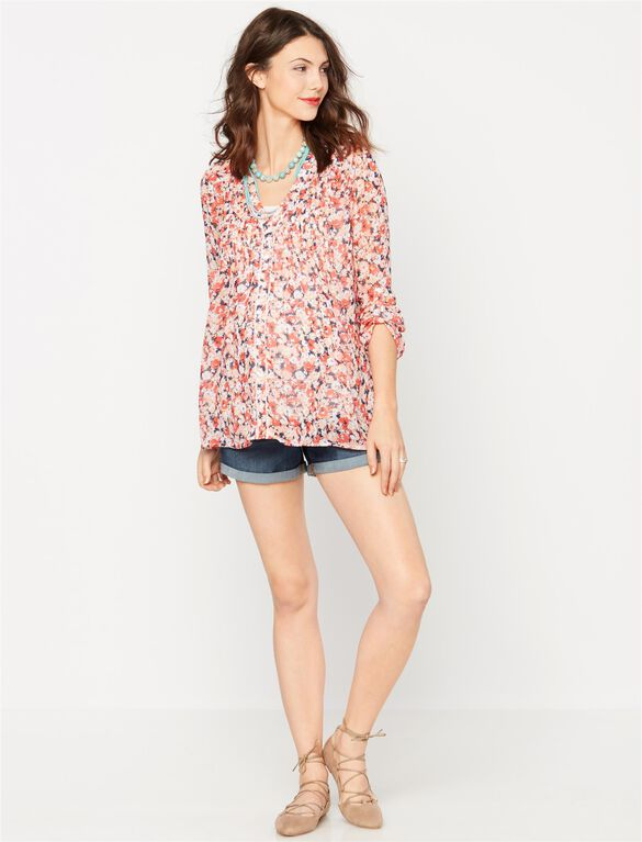 A Pea In The Pod Pleated Maternity Blouse, Floral Print