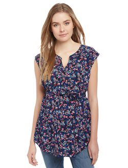 Cap Sleeve Tie Detail Maternity Tunic, Ditsy Floral Navy