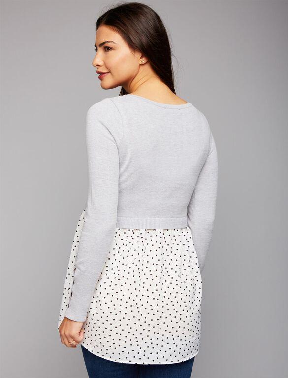 Babydoll Maternity Sweater, Heather Grey/Dot Print