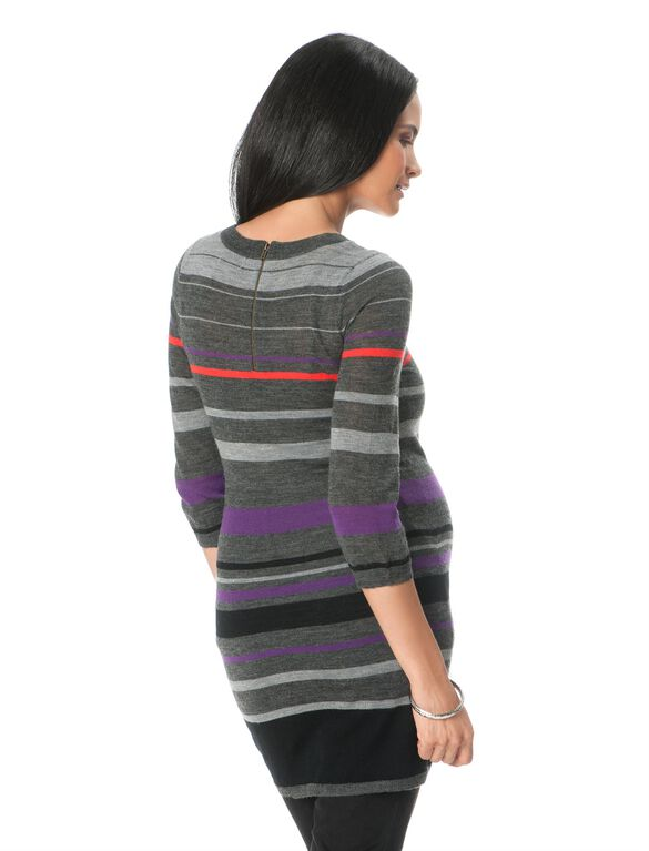 Striped Maternity Sweater, Black/Grey/Purple