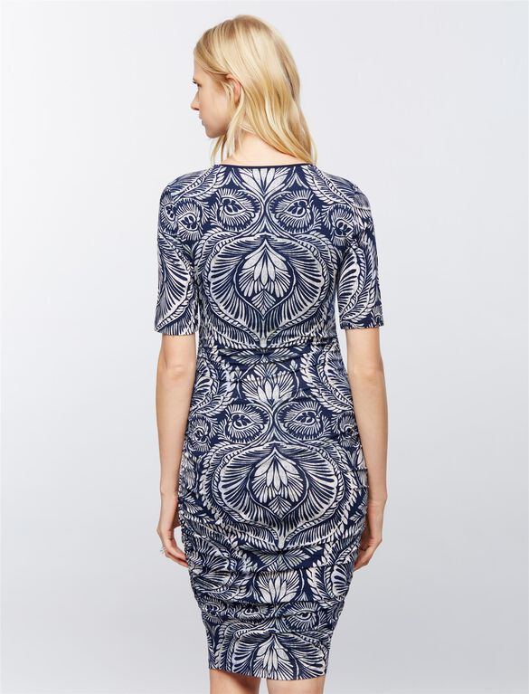 Ruched Maternity Dress- Paisley, Paisley