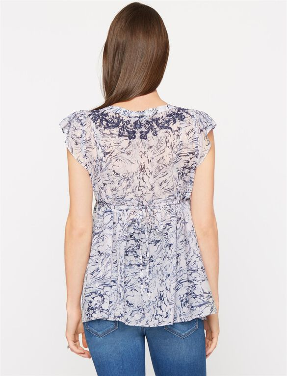 Flutter Sleeve Maternity Blouse, Marble Print