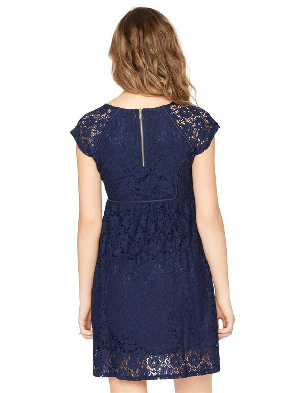 Lace Back Zip Maternity Dress, Navy