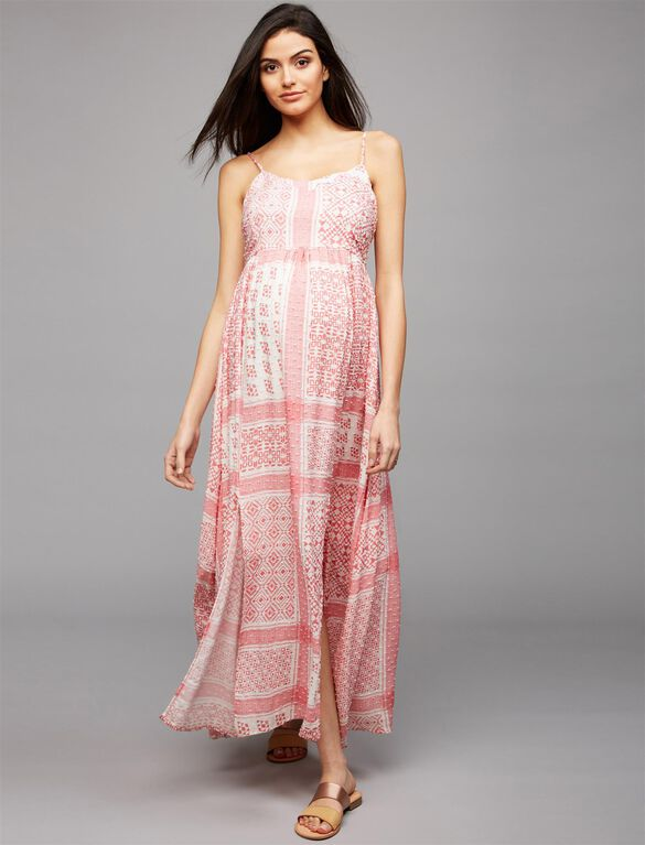 Moon + Sky Textured Maternity Maxi Dress, Textured Red/White Print