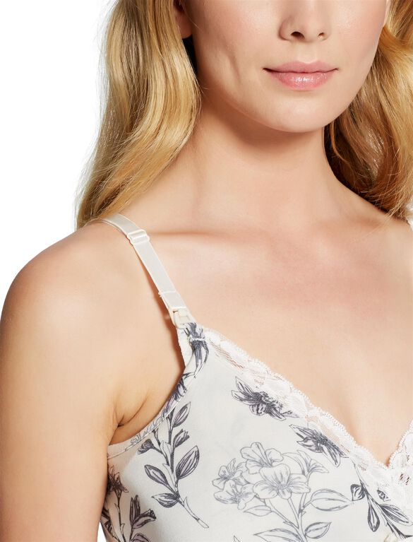 Jessica Simpson Lace Nursing Nightgown- Floral, Floral