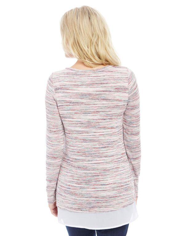 Woven Hem Maternity Tunic- Spacedye, Multi-color