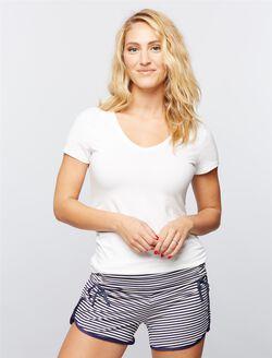 Ruched Maternity Sleep Shorts- Navy/White Stripe, Navy/White