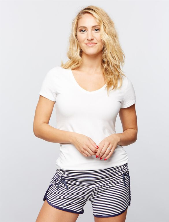 Ruched Maternity Sleep Shorts- Navy/White Stripe, Navy/White