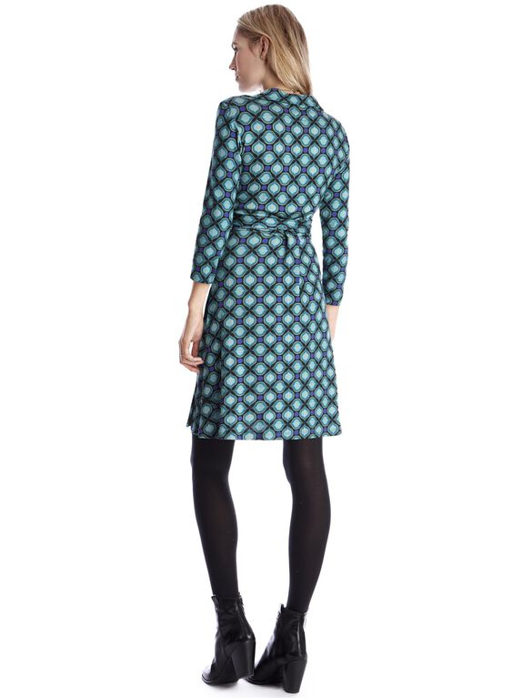 Seraphine Side Tie Check Print Maternity Dress, Green Mosaic Print