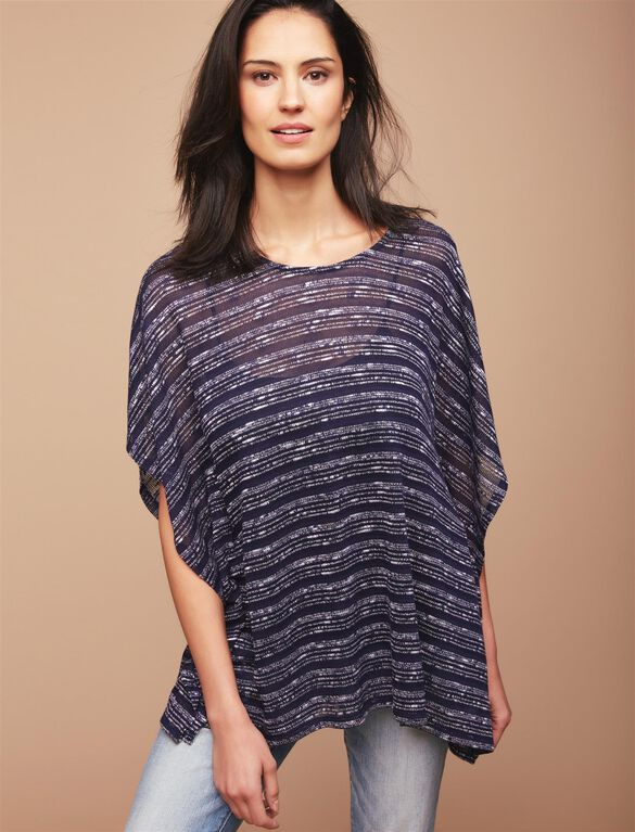 Pull Over Poncho Nursing Cardigan, Navy Stripe