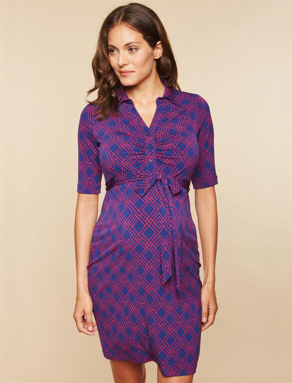 Web Only Side Tie Maternity Dress, NAVY/PINK PRINT