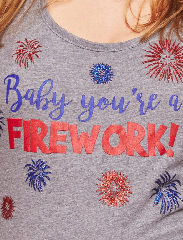 Baby You're A Firework Maternity Tank, Grey